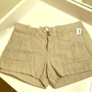 NWT Old Navy Linen Khaki Shorts